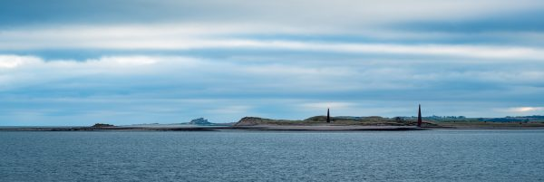 Bamburgh Castle and Guile Point panoramic from Holy Island