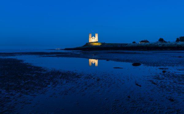 reculver towers at dusk