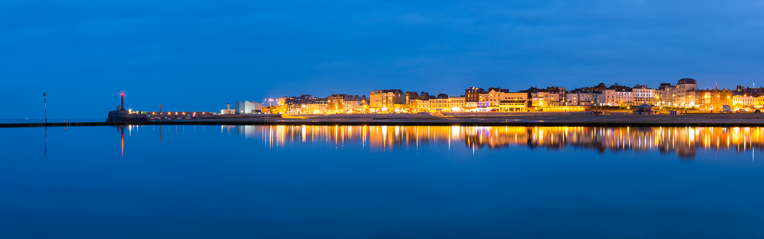 Margate seafront reflections in the blue hour