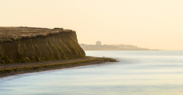 The view towards the Bishopstone Cliffs and Herne Bay from Reculver