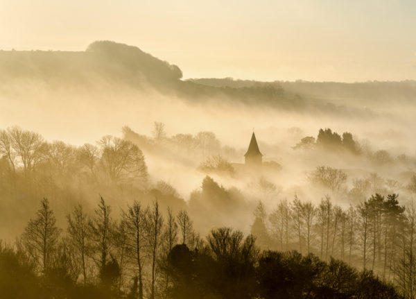 The village of Postling in the Kent Downs AONB at dawn