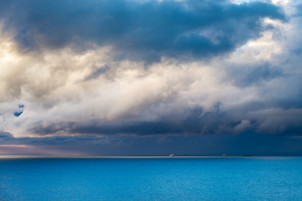 stormy skies over the english channel