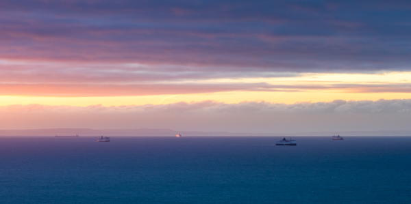 sunrise light on the boats in english channel