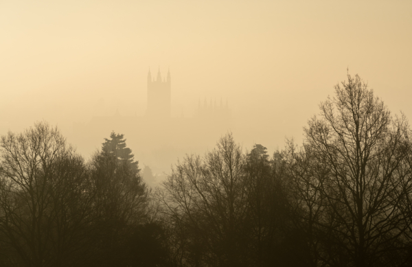 Canterbury Cathedral on a misty morning